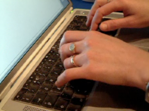 Fingers on keyboard