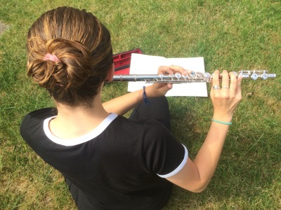 Young person flute lesson